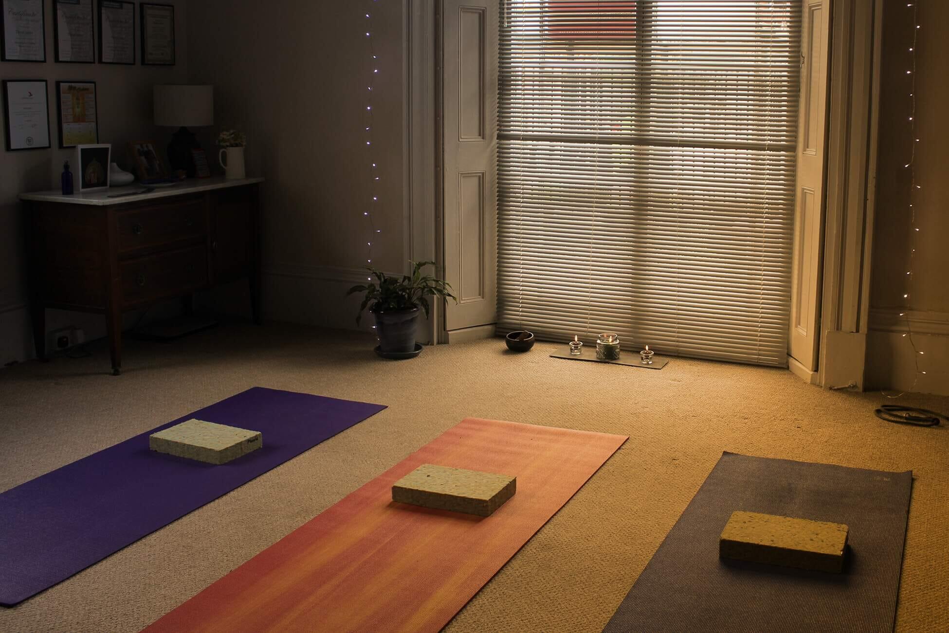 Yoga studio and mats